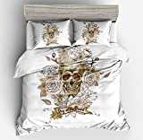 Gorgeous White Floral Rose Skull Cotton Microfiber 3pc 104''x90'' Bedding Quilt Duvet Cover Sets 2 Pillow Cases King Size