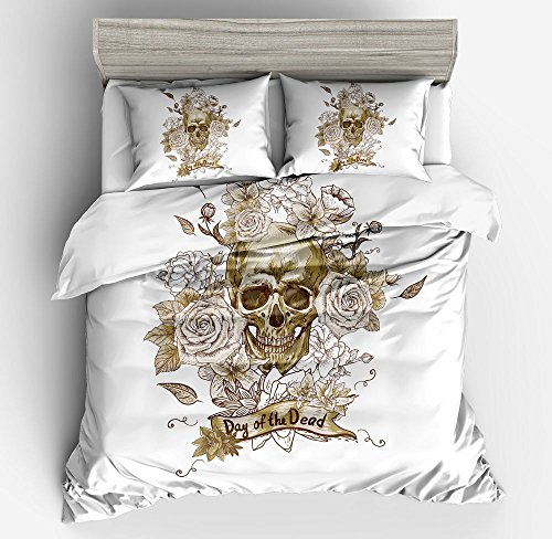 Gorgeous White Floral Rose Skull Cotton Microfiber 3pc 104''x90'' Bedding Quilt Duvet Cover Sets 2 Pillow Cases King Size by DIY Duvetcover