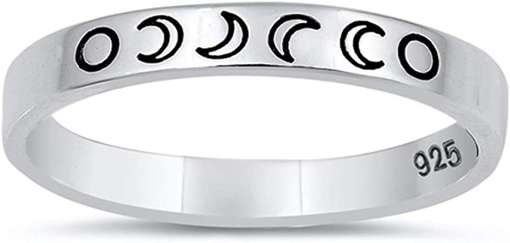 Lunar Moon Phases Science Nature Space Ring .925 Sterling Silver Band Sizes 4-10
