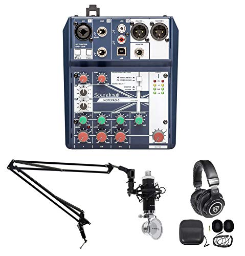Gaming Twitch Stream Recording Bundle w/Soundcraft Mixer+Headphones+Mic+Boom Arm