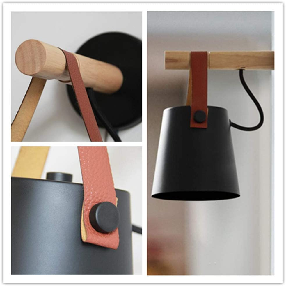 Wall Light Sconce Modern Wooden Leather Decorative Led Wall Lamps E27 Base Lighting Fixture for Living Room Bedroom Bedside Study Porch Aisle Corridor Black