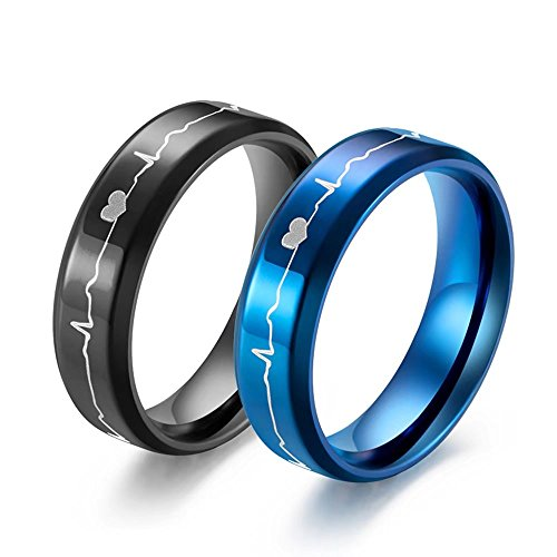 Couple Rings 6mm Titanium Stainless Steel Etched ECG HeartBeat Wedding Band Anniversary Engagement Promise Ring For Women Men Black Size 7 US