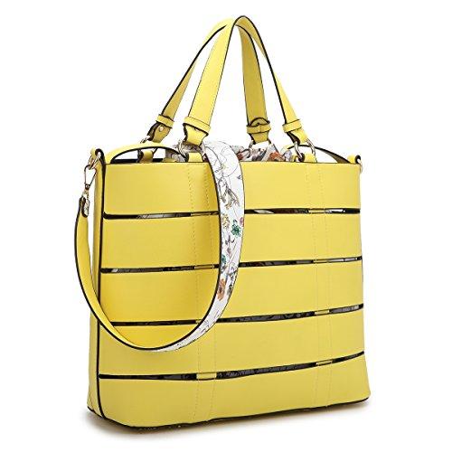 Large Leather Tote Bag Designer Shoulder Handbag Top-Handle Purse Yellow (Yellow Handbag Designer)