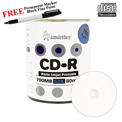 Smartbuy 100-disc 700mb/80min 52x CD-R White Inkjet Hub Printable Blank Media Disc + Black Permanent Marker by Smartbuy