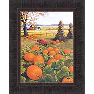 Patch Of Pumpkins by Glynda Turley 17x21 Fall Autumn Wheelbarrow Farm Barn Corn Shock Framed Art Print Picture