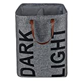 Homyfort Double Laundry Hamper,Collapsible Basket with Leather Handles, Easily Transport Foldable Large Laundry Bag Bins,Grey