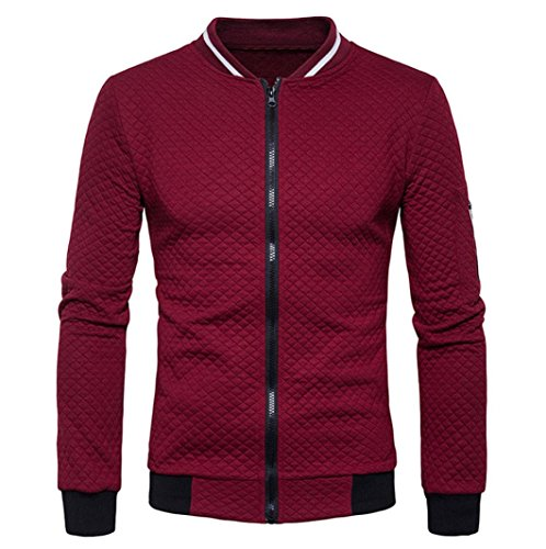Forthery Forhtery Mens Sports Polar Fleece Zip Front Knitted Cardigan Jacket (S, Wine Red) Long Sleeve Polar Fleece Top