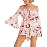 Vershow Women's Summer Floral Off Shoulder 3 4 Sleeves Romper Jumpsuit (Pink, Small)