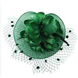 HOLDOOR Feather Fascinators Big Flower Fascinator Party Hat Mesh Veil Headband Clip for Wedding Derby