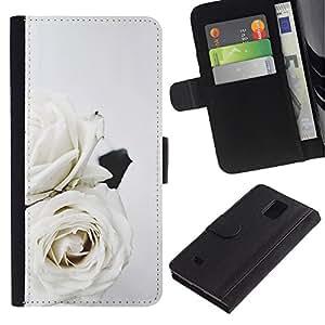 Billetera de Cuero Caso Titular de la tarjeta Carcasa Funda para Samsung Galaxy Note 4 SM-N910 / Roses Art Wedding Theme Flowers / STRONG