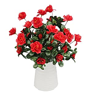 Mynse 2 Bunches Silk Flowers Bouquet for Home Shop Decoration Artificial Flowers Bouquet Azalea Red 32