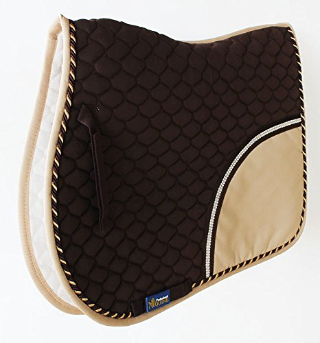 Brown English Saddle (Horse Cotton All purpose Show Quilted ENGLISH SADDLE PAD Trail Brown Tan 72F32)