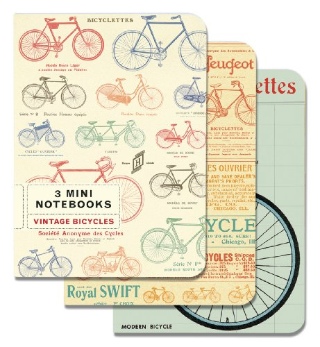 Price comparison product image Cavallini Papers 4 by 5.5-Inch Notebooks, Mini, Bicycles, Set of 3