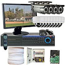 GW Security Inc WGV-12CHH5 Professional DVR 22-Inch LED Monitor 1080P HDSDI 2.8 to 12MM 650 TVL Waterproof All Complete CCTV Security Camera System
