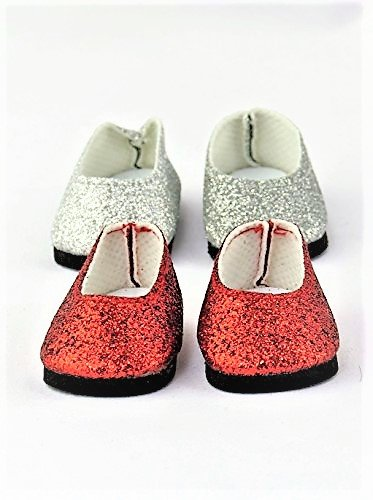ab9a922e079e Amazon.com: 2 pack of Slip On Glitter Shoes: Silver Glitter and Red ...