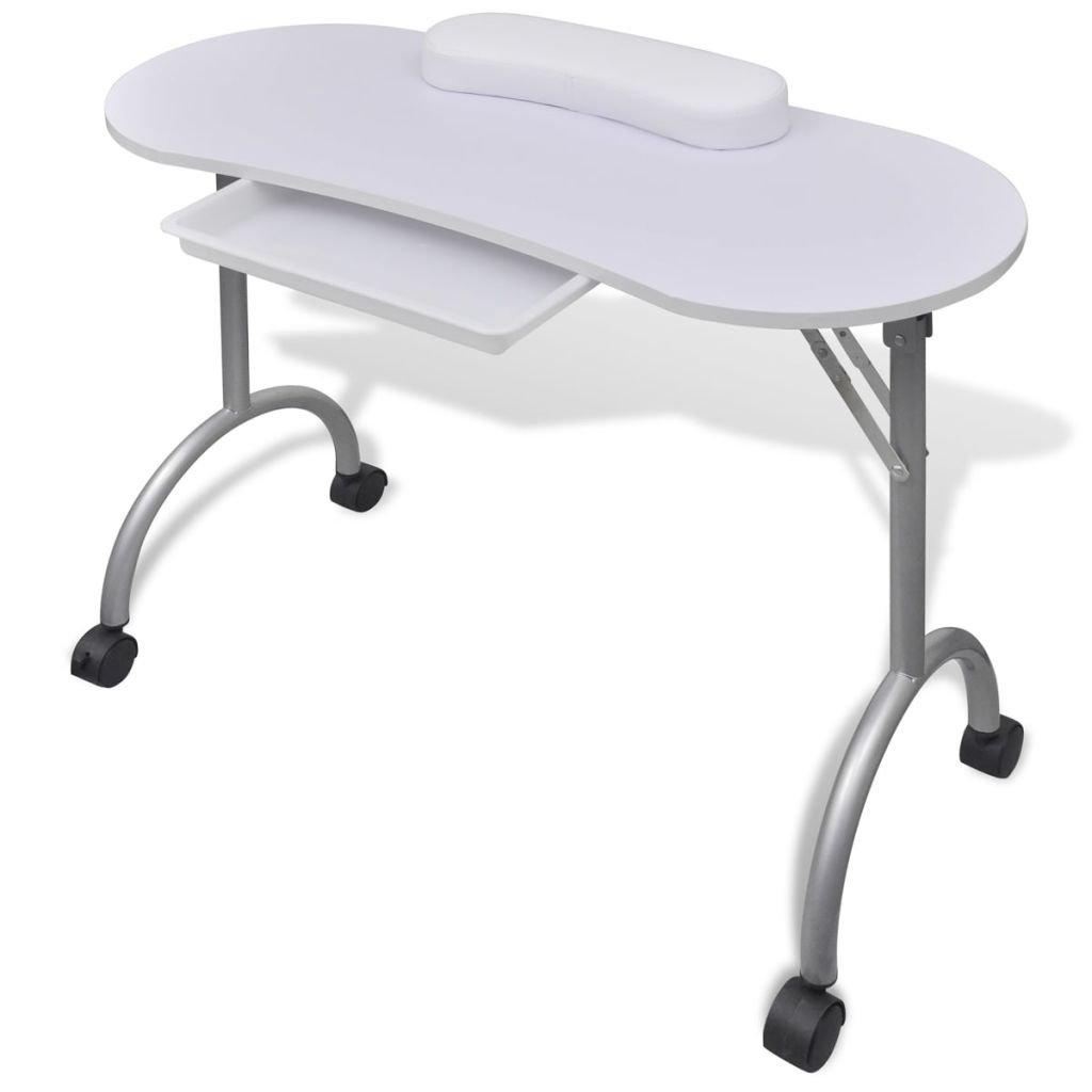 Mesa de Manicura Blanco Plegable, con Ruedas y Un Cajón Extraíble,de MDF + Acero 90 x 37 x 68 cm SENLUOWX