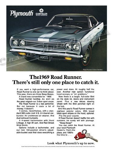 1969 Plymouth Road Runner Ad Digitized and Re-mastered Car Poster Print