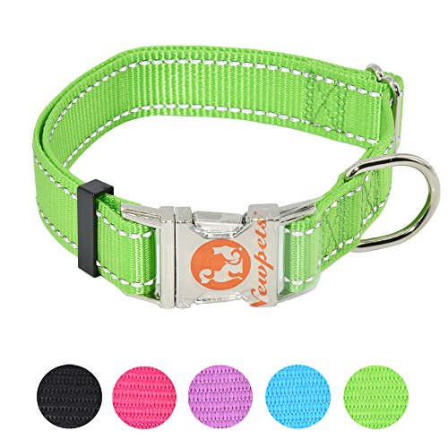 Metal Nylon Collar (Newpets Brand 5 Colors Reflective Nylon Dog Collar with Anti-Rusting Metal Buckle for Xsmall , Small , Medium , Large Dogs (Large, Green))