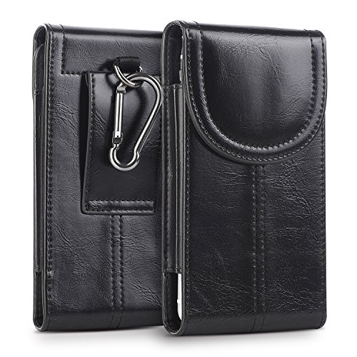 (kiwitatá iPhone Xs X Belt Holster, Vertical Premium Leather Pouch Carrying Holster Case [Belt Loop] Crazy Horse for iPhone X XS iPhone 8 7 6S (Fits Phone w a Slim TPU Case On) Black )