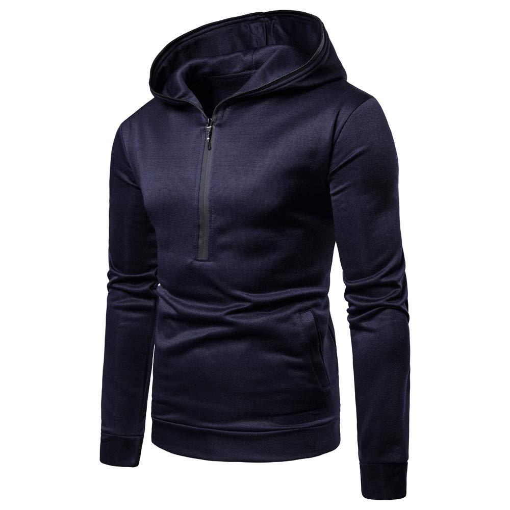 YOYOGO Hombre Ropa Abrigo❤Mens Pure Color Zipper Pullover Long Sleeve Hooded Sweatshirt Tops Blouse: Amazon.es: Ropa y accesorios