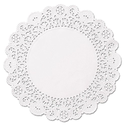 6 inch White Round Paper Lace Doilies (500); Adorable doily for many uses - drink coasters, wrap silverware at weddings/showers, dress up mini cheesecakes and pastries by The Baker Celebrations