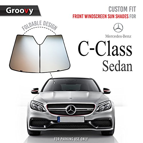 Groovy Front Windshield Sun Shade | The 2018 Mercedes‑Benz C-Class Sedan Model | w205 OEM Materials for Maximum UV and Sun Protection -Foldable Design -Windshield Sunshade (Large)