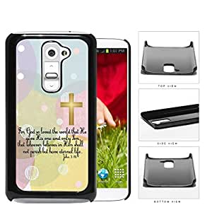 John 3:16 Bible Verse with Gold Cross and Pastel Colors Polka Dots & Circles Background [LG G2] Hard Snap on Plastic Cell Phone Cover by Maris's Diary