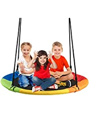 """Costzon 40"""" Waterproof Saucer Tree Swing Set, Outdoor Round Swing - Adjustable Hanging Ropes, Safe and Sturdy Swing for Children Park Backyard (Multicolor)"""