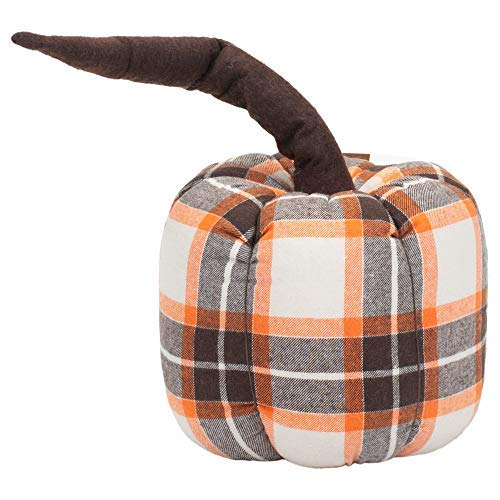 Honey and Me Large Pumpkin with Stem Fall Plaid 8 x 7 Soft Flannel Harvest Throw Pillow [並行輸入品] B07RCDZ7VF