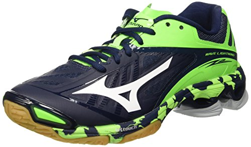 Mizuno Men Wave Lightning Z2 Volleyball Shoes Blue (Dressblues/White/Greengecko)