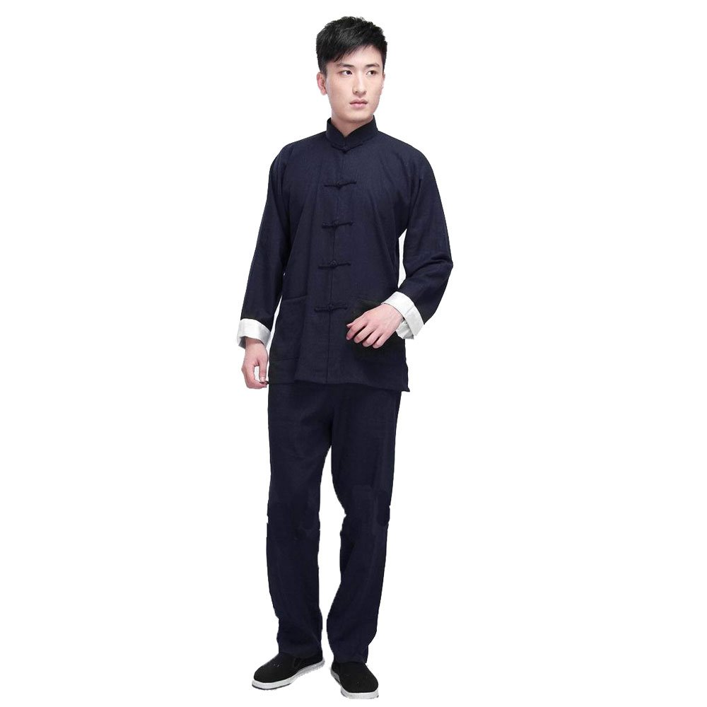 ZooBoo Kung Fu Uniform Clothing - Chinese Traditional Martial Arts Wing Chun Suits Tai Chi Training Clothes Apparel Clothing for Man Women Arthritis - Cotton Linen - Black (DarkBlue, XXL/185) by ZooBoo