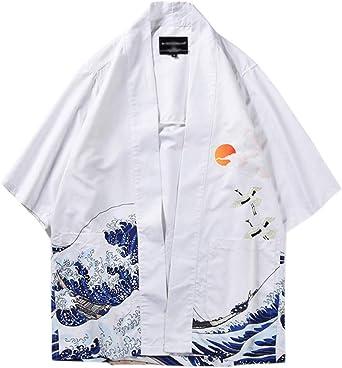 Hombres Camisa Kimono Estilo Japon/és Cardigan Estampado Holgado Manga 3//4