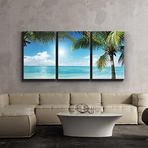 wall26 3 Piece Canvas Print - Contemporary Art, Modern Wall Decor - Tropical Blue Waters Framed by Palms - Giclee Artwork - Gallery Wrapped Wood Stretcher Bars - Ready to Hang 24