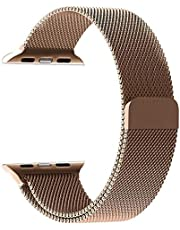 Milanese Loop Watch Band for 42mm/44mm Apple Watch, Stainless Steel iWatch Replacement Strap - Gold