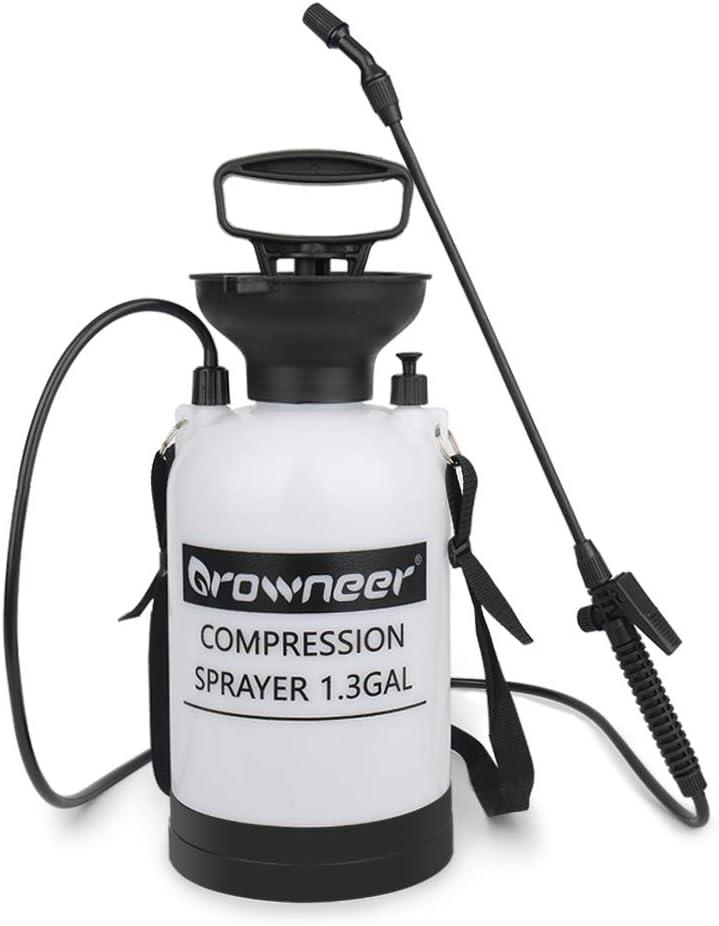 GROWNEER 1.3 Gallon Portable Pump Pressure Sprayer with Pressure Relief Valve and Adjustable Shoulder Strap in Lawn, Yard, Garden, Greenhouse, White