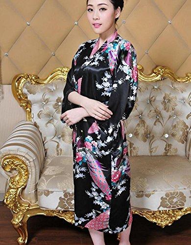 LJ&L Las señoras verano párrafo largo pantalones transpirables sección delgada de simulación de confort de seda trajes de alta calidad de moda pijamas de ropa interior de seda,Rose red,M Black