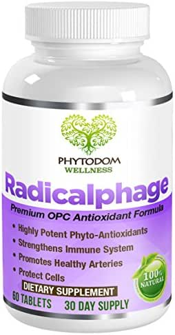 Radicalphage: Doctor Recommended Premium OPC Antioxidant Formula- #1 Anti-Aging & Protection from Free-Radicals Supplement- Green Tea Extract, Grape Seed Extract, Pine Extract-All Natural- 60 Tablets