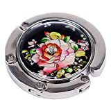 Nacre Inlay Mother of Pearl Red Rose Design Foldable Table Purse Caddy Portable Handbag Holder Hanger
