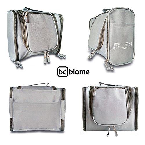 BLOME DESIGN Hanging Toiletry Bag | Water Resistant & Antibacterial Travel Essentials & Cosmetic Bag with Zip Mash Pockets & Sturdy Hanging Hook for Men, Women, Boys, Girls (Grey - Front Zipper) Antibacterial Bags
