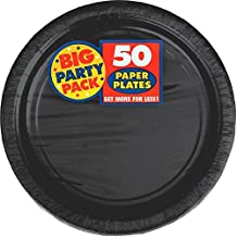 Amscan Big Party Pack Paper Luncheon Plates 7-Inch, 50/Pkg, Black