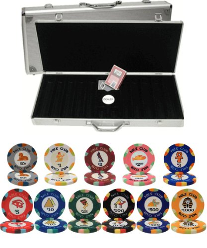 Nile Club Ceramic Clay 10gm 500 Chip Poker Set with Aluminum -