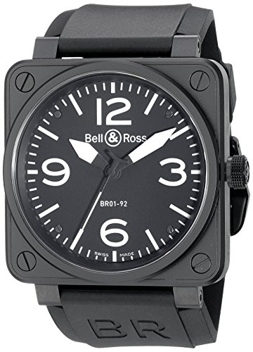 Bell-Ross-Mens-BR01-92CARBON-Aviation-Black-Rubber-Strap-Watch