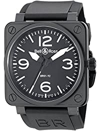 Mens BR01-92CARBON Aviation Black Rubber Strap Watch