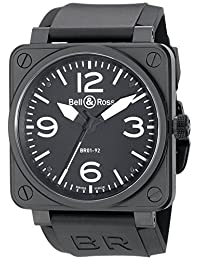 Bell & Ross Men's BR01-92CARBON Aviation Rubber Strap Black Dial Watch