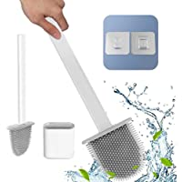 KLTD White Silicone Toilet Brush with Wall-Mounted Holder || Deep Cleaner with No-Slip Long Plastic Handle and Flexible…