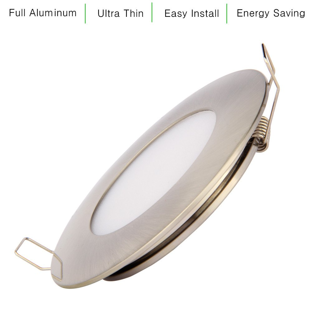 12V LED RV Boat Ceiling Lights Recessed Interior Dome Light Cabinet Roof Cabin Overhead Downlight 3.5W 3inches Brushed Nickel Warm White 4 Pack