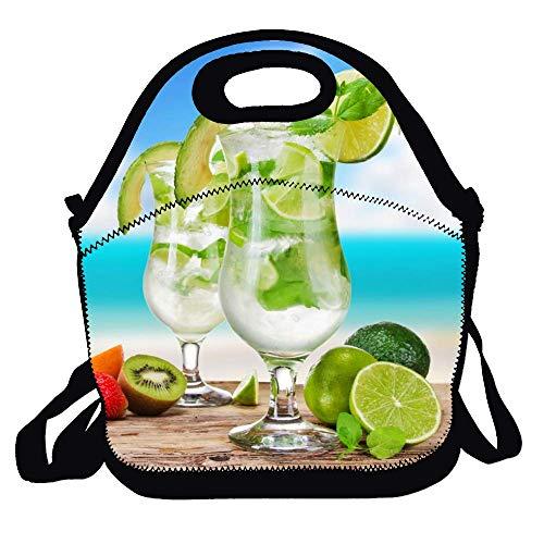 Feddiy Mojito cocktail drinks, green lemon Lunch Tote Lunch Bag School
