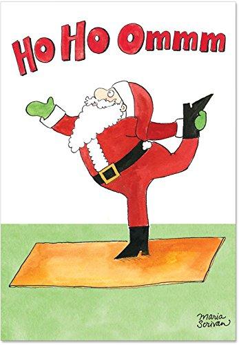 12 Boxed 'Santa Yoga' Christmas Cards with Envelopes 4.63 x 6.75 inch, Hilarious Santa Claus in Yoga Session Holiday Notes, Cartoon of Santa Claus Doing Yoga Christmas Notes B1885