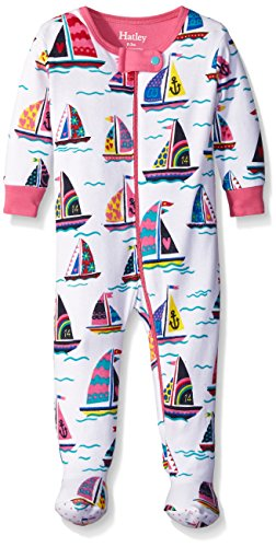 - Hatley Baby Girls' Patterned Sailboats Footed Coverall, White, 12-18 Months