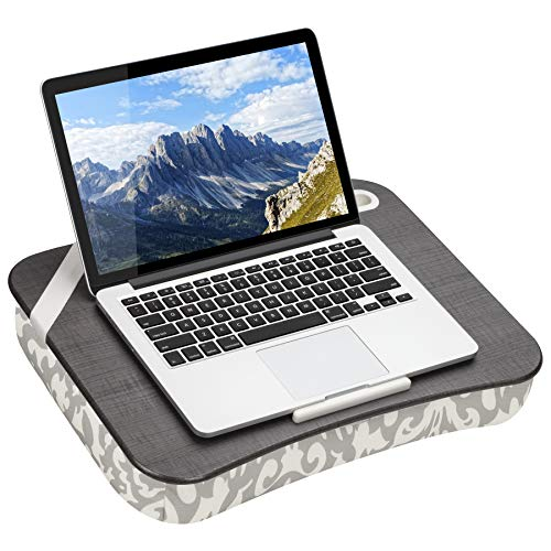 LapGear Designer Lap Desk with Phone Holder and Device Ledge - Gray Damask - Fits up to 15.6 Inch Laptops - Style No. 45424